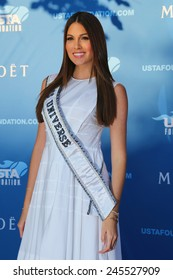 NEW YORK - AUGUST 25, 2014: Miss Universe 2014 Gabriela Isler from Venezuela at the red carpet before US Open 2014 opening night ceremony at National Tennis Center  in New York