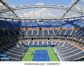 NEW YORK - AUGUST 25, 2015: Newly Improved Arthur Ashe Stadium at the Billie Jean King National Tennis Center ready for US Open tournament in Flushing, NY