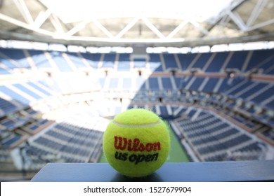 NEW YORK - AUGUST 25, 2019: US Open Wilson tennis ball at Billie Jean King National Tennis Center in New York. Wilson is the Official Ball of the US Open since 1979
