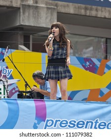 NEW YORK - AUGUST 25: Carly Rae Jepsen performs at Kids Day at US Open tennis tournament sponsored by Hess on August 25, 2012 in Queens New York