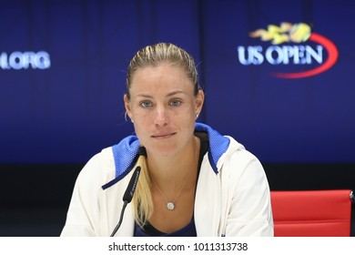 NEW YORK - AUGUST 26, 2017: Grand Slam champion Angelique Kerber of Germany during press conference before US Open 2017 in New York