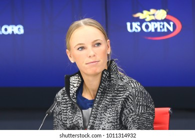 NEW YORK - AUGUST 26, 2017: Professional tennis player Caroline Wozniacki of Denmark during press conference before US Open 2017 in New York