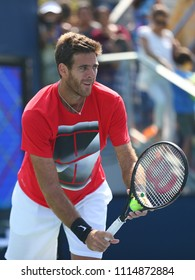 NEW YORK - AUGUST 26, 2017: Grand Slam Champion Juan Martin del Potro of Argentina in practice for 2017 US Open at Billie Jean King National Tennis Center
