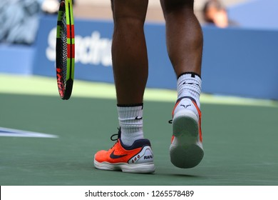 NEW YORK - AUGUST 26, 2018: Grand Slam champion Rafael Nadal of Spain wears custom Nike tennis shoes during US Open 2018 at Billie Jean King National Tennis Center in New York