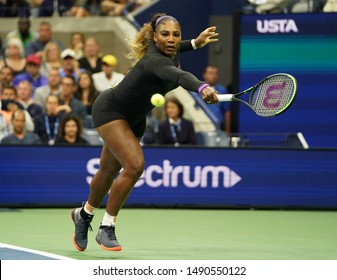 NEW YORK - AUGUST 26, 2019: Grand Slam champion Serena Williams in action during 2019 US Open first round match against Maria Sharapova at Billie Jean King National Tennis Center