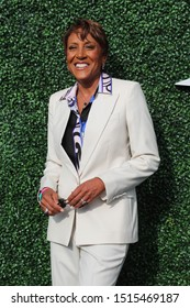 NEW YORK - AUGUST 26, 2019: TV anchor Robin Roberts at the red carpet before 2019 US Open opening night ceremony at USTA Billie Jean King National Tennis Center in New York