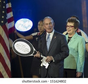 NEW YORK - AUGUST 26: Mayor Michael Bloomberg, Billie Jean King attend opening night ceremony at the 2013 US Open at USTA Billie Jean King National Tennis Center on August 26, 2013 in New York