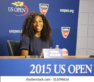 NEW YORK - AUGUST 27, 2015: Twenty one times Grand Slam champion Serena Williams during press conference at the Billie Jean King National Tennis Center before  US Open 2015 tournament in Flushing, NY