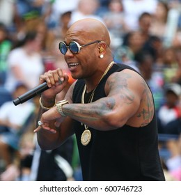 NEW YORK - AUGUST 27, 2016: American rapper, singer, and songwriter Flo Rida participates at Arthur Ashe Kids Day 2016 at Billie Jean King National Tennis Center in New York