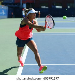 NEW YORK - AUGUST 27, 2016: Grand Slam champion Angelique Kerber of Germany  practices for US Open 2016 at Billie Jean King National Tennis Center in New York