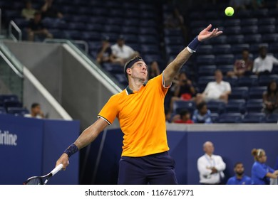 NEW YORK - AUGUST 27, 2018: Grand Slam champion Juan Martin Del Potro of Argentina in action during his 2018 US Open first round match at Billie Jean King National Tennis Center