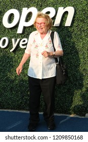 NEW YORK - AUGUST 27, 2018: Sex therapist, media personality, and author Dr. Ruth Westheimer on the blue carpet before US Open 2018 opening night ceremony at USTA National Tennis Center in New York