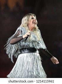 NEW YORK - AUGUST 27, 2018: Grammy Award Winning Superstar Kelly Clarkson sings during 2018 US Open Opening Night Act at National Tennis Center in New York