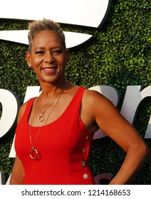 NEW YORK - AUGUST 27, 2018: United States Tennis Association President and CEO Katrina Adams on the blue carpet before 2018 US Open opening night ceremony at Tennis Center in New York