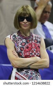 NEW YORK - AUGUST 27, 2018: Editor-in-chief of Vogue magazine Anna Wintour attends 2018 US Open opening ceremony at USTA Billie Jean King National Tennis Center in New York