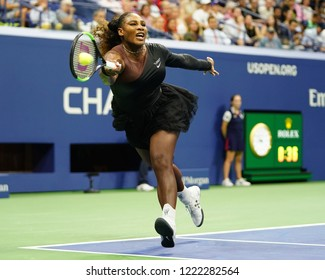 NEW YORK - AUGUST 27, 2018: 23-time Grand Slam champion Serena Williams in action during her 2018 US Open first round match at Billie Jean King National Tennis Center