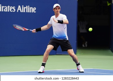 NEW YORK - AUGUST 27, 2018: Grand Slam Champion Andy Murray of Great Britain in action during first round match at 2018 US Open at USTA National Tennis Center