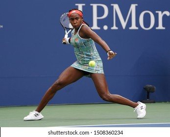 NEW YORK - AUGUST 27, 2019: Professional tennis player 15-year-old Coco Gauff of United States in action during her 2019 US Open first round match at Billie Jean King National Tennis Center