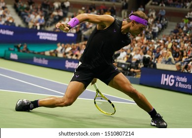 NEW YORK - AUGUST 27, 2019: 18-time Grand Slam champion Rafael Nadal of Spain in action during his 2019 US Open first round match at Billie Jean King National Tennis Center in New York