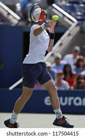 NEW YORK - AUGUST 27: Andy Murray of United Kingdom returns ball during 1st round match against Alex Bogomolov of Russia at US Open tennis tournament on August 27, 2012 in Flushing Meadows New York