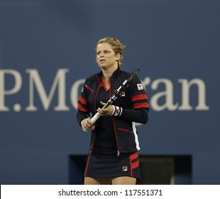 NEW YORK - AUGUST 27: Kim Clijsters of Belgium warms up during 1st round match against Victoria Duval of USA at US Open tennis tournament on August 27, 2012 in Flushing Meadows New York