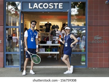 NEW YORK - AUGUST 27: Lacoste sporting clothing store at 2013 US Open at USTA Billie Jean King Tennis Center on August 27, 2013 in New York