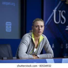 NEW YORK - AUGUST 27: Maria Sharapova of Russia talks to the media during previews at USTA Billie Jean King National Tennis Center on August 27, 2011 in New York City, NY.
