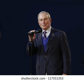 NEW YORK - AUGUST 27: Mayor Michael Bloomberg speaks at the opening ceremony at US Open tennis tournament on August 27, 2012 in Flushing Meadows New York