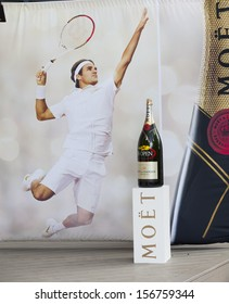 NEW YORK - AUGUST 27: Moet & Chandon champagne bar at 2013 US Open at USTA Billie Jean King Tennis Center food court on August 27, 2013 in New York