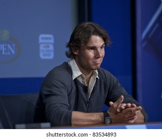NEW YORK - AUGUST 27: Rafael Nadal of Spain talks to the media during previews at USTA Billie Jean King National Tennis Center on August 27, 2011 in New York City, NY.