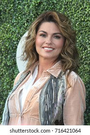 NEW YORK - AUGUST 28, 2017: Canadian country singer and songwriter Shania Twain on the blue carpet before US Open 2017 opening night ceremony at Tennis Center in New York