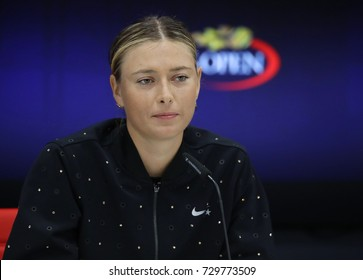NEW YORK - AUGUST 28, 2017: Five times Grand Slam Champion Maria Sharapova of Russia during press conference after her US Open 2017 first round match at Billie Jean King National Tennis Center