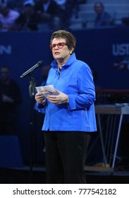 NEW YORK - AUGUST 28, 2017: Billie Jean King participates at US Open 2017 opening night ceremony at Tennis Center in New York