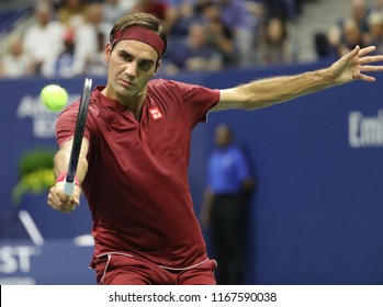 NEW YORK - AUGUST 28, 2018: 20-time Grand Slam champion Roger Federer of Switzerland in action during the 2018 US Open first round match at Billie Jean King National Tennis Center