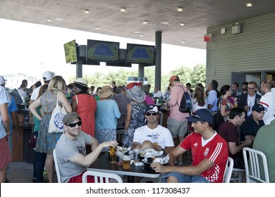 NEW YORK - AUGUST 28: Customers enjoy food and drinks at new Heineken restaurant at US Open tennis tournament on August 28, 2012 in Flushing Meadows New York