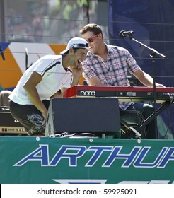 NEW YORK - AUGUST 28: Novak Djokovic and Brian Brothers band perform during the Arthur Ashe Kids Day at US Open August 28, 2010 in New York City