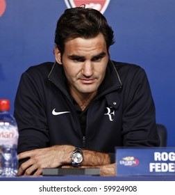 NEW YORK - AUGUST 28: Roger Federer of Switzerland holds press conference at US Open August 28, 2010 in New York City