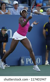 NEW YORK - AUGUST 28: Sloane Stephens of USA returns ball during 1st round match against Francesca Schiavone of Italy at US Open tennis tournament on August 28, 2012 in Flushing Meadows New York