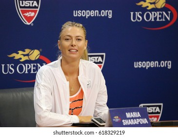 NEW YORK - AUGUST 29, 2015: Five times Grand Slam Champion Maria Sharapova during press conference before US Open 2015. In two days Maria withdraws from US Open with leg injury