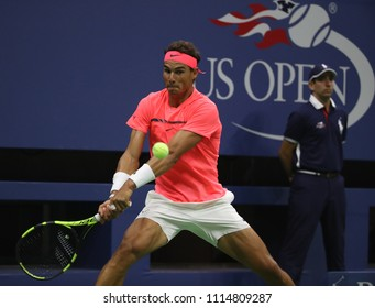 NEW YORK - AUGUST 29, 2017: Grand Slam champion Rafael Nadal of Spain in action during his US Open 2017 first round match at Billie Jean King National Tennis Center