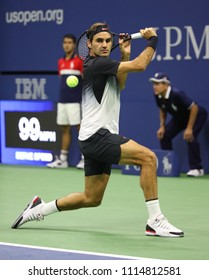 NEW YORK - AUGUST 29, 2017: Grand Slam champion Roger Federer of Switzerland in action during his US Open 2017 first round match at Billie Jean King National Tennis Center
