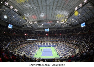 NEW YORK - AUGUST 29, 2017: Arthur Ashe Stadium at Billie Jean King National Tennis Center during night session US Open 2017 in New York.