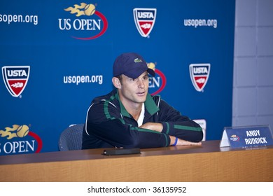 NEW YORK - AUGUST 29: Andy Roddick of USA 2003 champion attends press conference at US Open on August 29 2009 in New York
