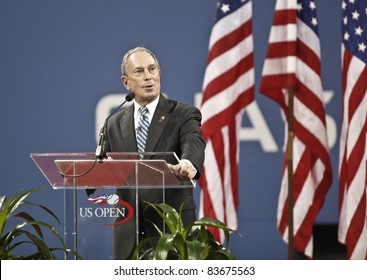 NEW YORK - AUGUST 29: Mayor Michael Bloomberg speaks during opening ceremony of US Open at USTA Billie Jean King National Tennis Center on August 29, 2011 in New York City NY.