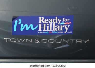 """NEW YORK - AUGUST 3, 2017: Presidential election 2016 """"I'm Ready for Hillary"""" bumper sticker"""