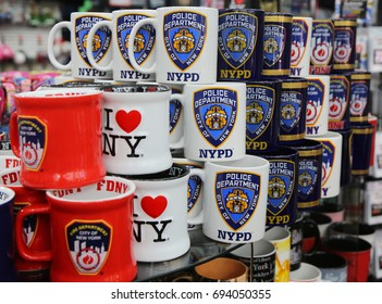 NEW YORK - AUGUST 3, 2017: New York City souvenirs on display in Manhattan