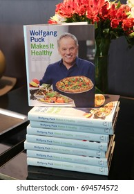 NEW YORK - AUGUST 3, 2017: Wolfgang Puck's cooking book on display at Cut restaurant in Lower Manhattan