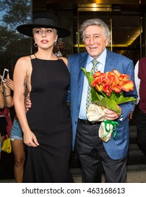 NEW YORK - AUGUST 3: Lady Gaga and Tony Bennett seen on Mr. Bennet's 90th birthday on August 3, 2016 in New York City.
