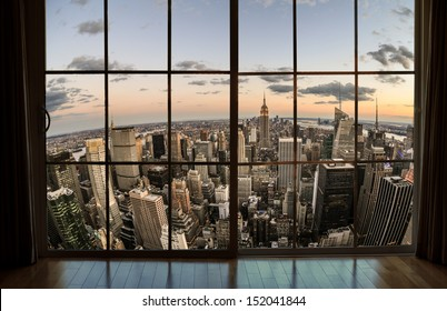 NEW YORK - AUGUST 30, 2013: window view of Manhattan in New York. Manhattan is the smallest NYC borough yet contains some of the world's most expensive real estate.