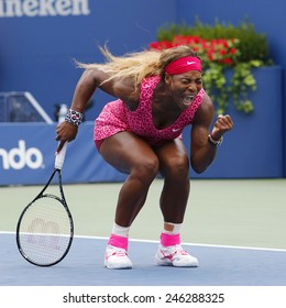 NEW YORK- AUGUST 30, 2014: Grand Slam champion Serena Williams during fourth round match at US Open 2014 against Varvara Lepchenko at Billie Jean King National Tennis Center in New York